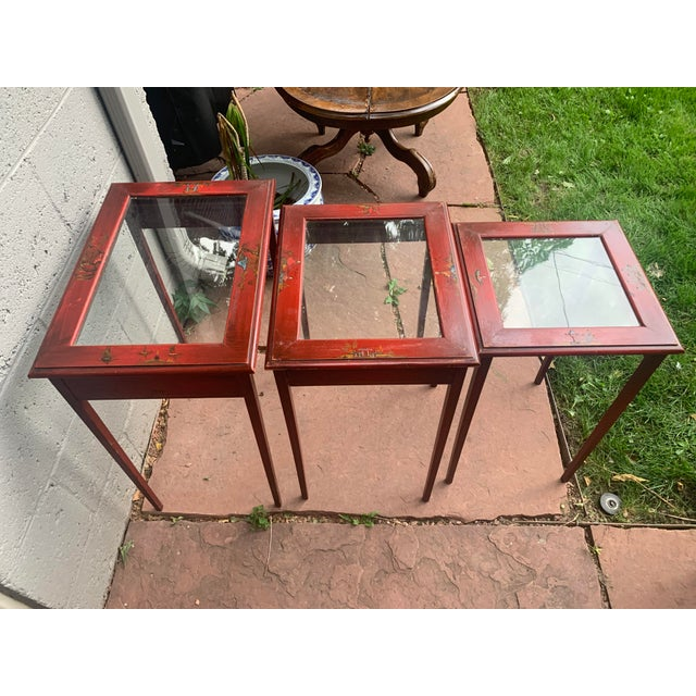 Japanese Red Lacquer and Glass Nesting Tables - Set of 3 For Sale In Denver - Image 6 of 13