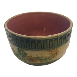 Vintage Floral Glazed Ceramic Cup For Sale