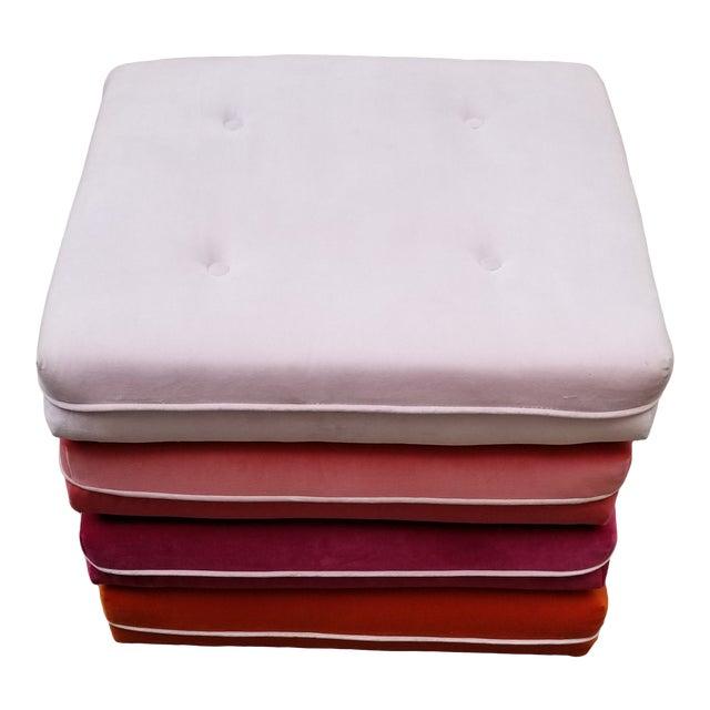 Custom Made Velvet Multi Color Otttoman For Sale