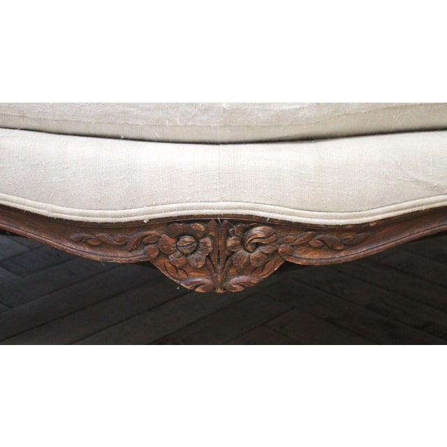 Late 19th Century Carved Walnut Sofa With Antique French Grainsack Upholstery For Sale - Image 10 of 13