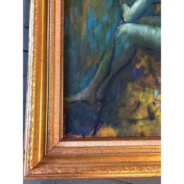 Original Vintage Impressionist Female Nude Interior Painting Large Framed For Sale In Philadelphia - Image 6 of 9