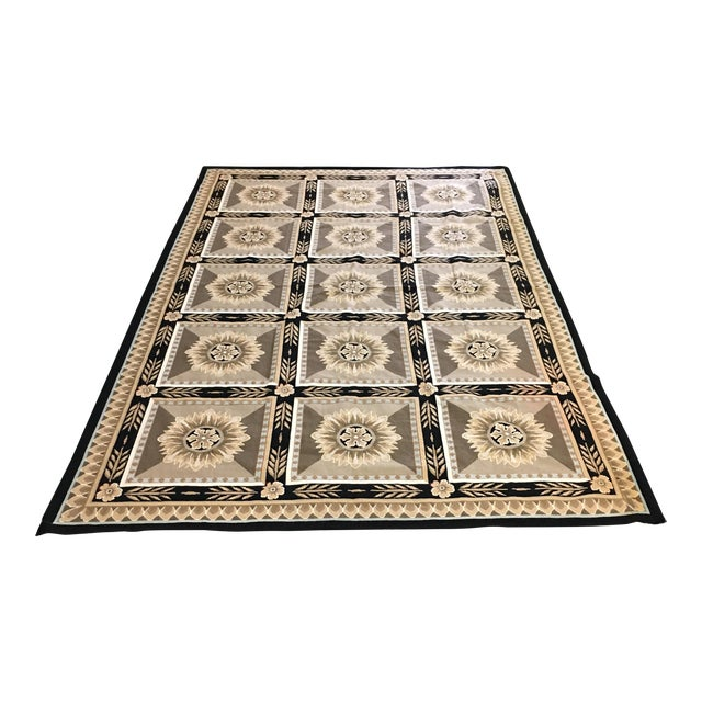 French Hand Woven Aubusson Needlepoint Area Rug - 5′5″ × 9′8″ - Image 1 of 11