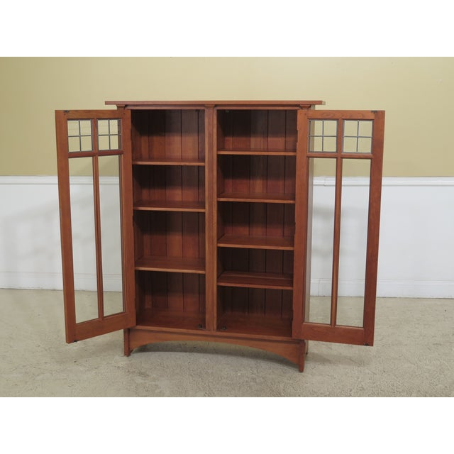 Stickley Mission Cherry Leaded Glass 2 Door Bookcase For Sale - Image 9 of 13