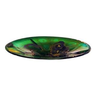 1970s Vintage Kent Forrest Ipsen Studio Green Glass Centerpiece For Sale