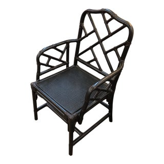 Chippendale Ballard Designs Black Faux Bamboo Chair