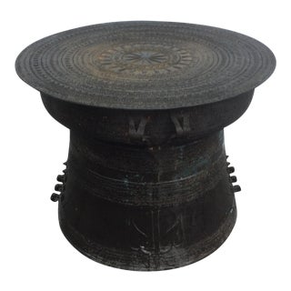 Asian Bronze Tribal Rain Drum Table For Sale