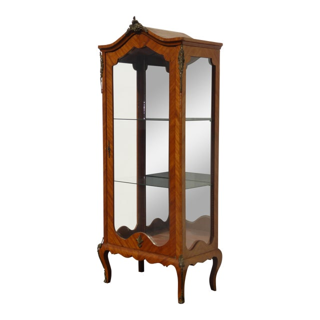Vintage French Provincial Curio Cabinet Display Case Vitrine W Burlwood and Ormalu For Sale