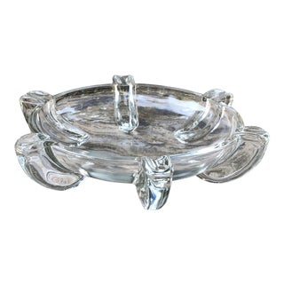 Mid Century Modern Clear Round Glass Cigar Ashtray For Sale