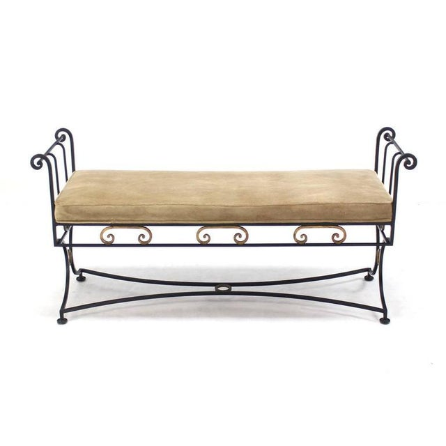 Wrought Iron Fine Ornate Design Hollywood Regency Window Bench New Upholstery For Sale In New York - Image 6 of 6