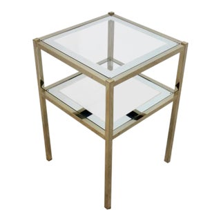 French Brass Mirrored Side Table