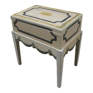 Vintage Painted Side Table with Lift Top Storage For Sale