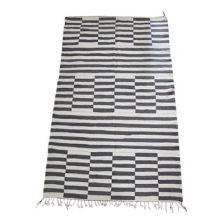 """Gray and Ivory Natural Wool Bar Lines Lahmal Flatweave Moroccan Kilem Area Rug 8'3"""" X 5' For Sale"""