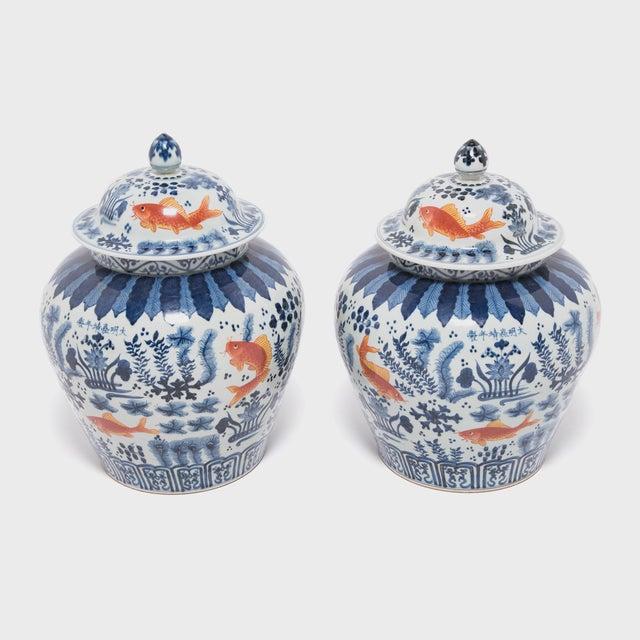 Ceramic Underglaze Indigo and Copper Fish Jar For Sale - Image 7 of 7