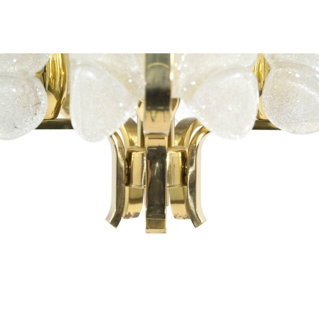 Murano Glass Brass Chandelier by Carl Fagerlund for Orrefors, Sweden, 1960s For Sale - Image 9 of 10