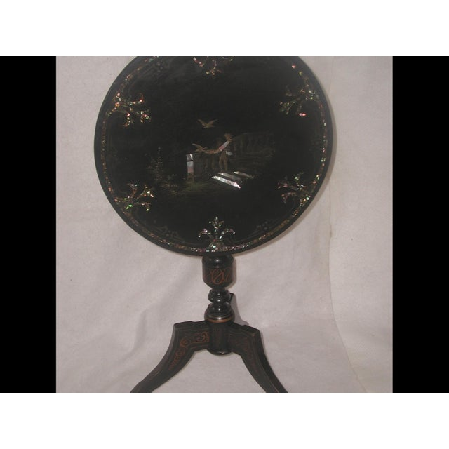 Wood French Napoleon III Papier Mache Tilt Table Inlaid C.1850 For Sale - Image 7 of 10