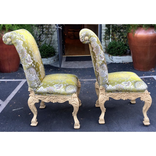 Early 20th Century Carved Italian Side Chair With Venetian Style Green Silk Lampas For Sale - Image 5 of 5