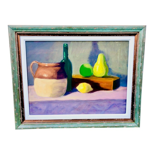 Contemporary Fruit Still Life Painting Signed For Sale