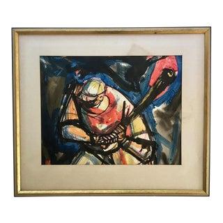 "Vintage Modernist Watercolor ""Homerun"""