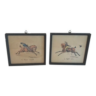 Vintage Italian Colorized Equestrian Prints - a Pair For Sale