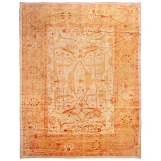 Antique Oushak Transitional Orange and Yellow Wool Rug with Red Accents For Sale