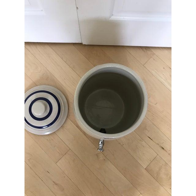 Antique Stoneware Blue Crown Crock Drink Dispenser For Sale - Image 4 of 9