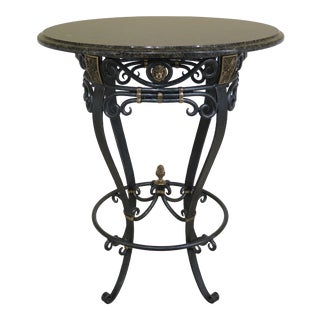 Traditional Round Granite Top Iron Base Bistro High Top Table For Sale
