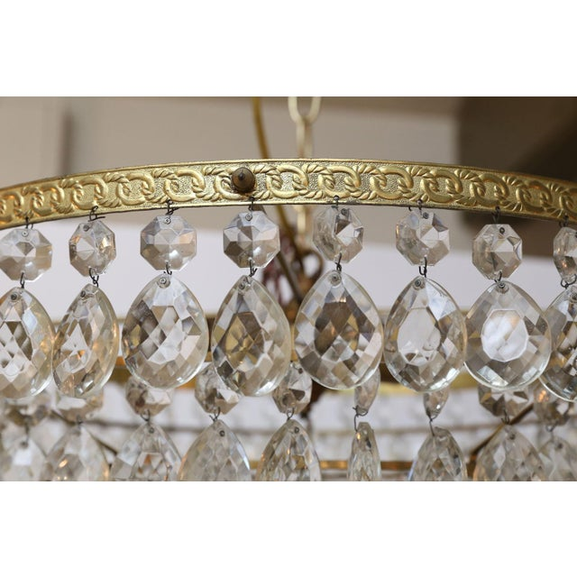 Gilt Brass and Crystal Chandelier by Palwa For Sale - Image 11 of 12