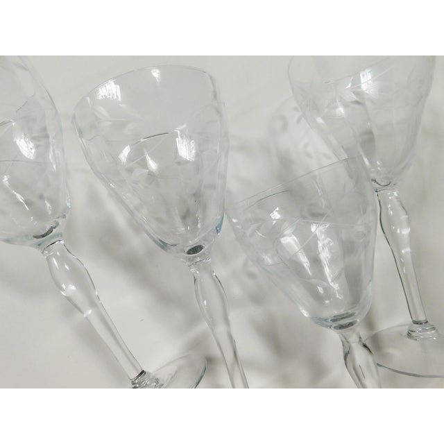 Transparent Etched Clear Wine Glasses - Set of 4 For Sale - Image 8 of 13