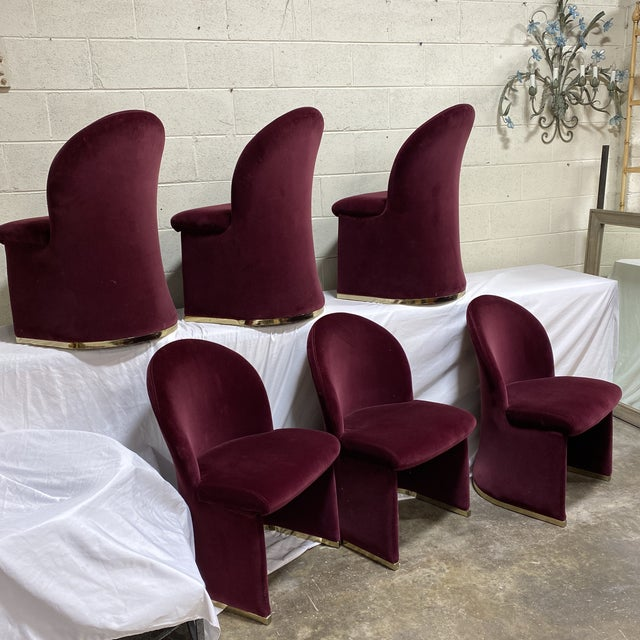 A set of contemporary curvedcurved back velvet upholstered dining chairs by Contemporary Shells, Inc. Great condition....