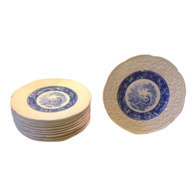 French Country Blue Transferware Charger Round Plates - Set of 12 For Sale
