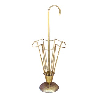 Vintage English Traditional Sculpted Brass Umbrella Stand For Sale