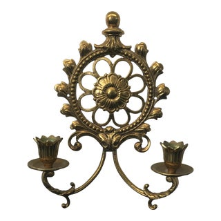 Vintage Brass Two-Light Wall Sconce For Sale