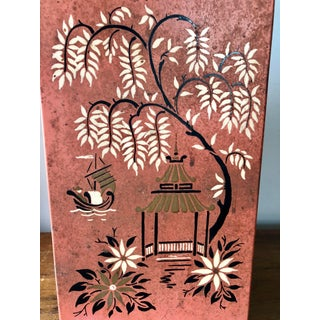 Vintage Chinoiserie Red Tole Painted Wastebasket Preview
