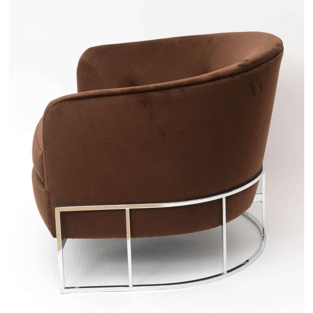 Chrome Milo Baughman Barrel Back Chair For Sale - Image 7 of 11