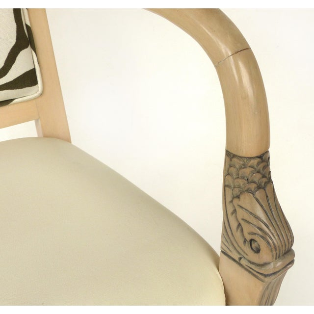 Black 1980s Vintage Blond Wood & Zebra Print Upholstery & Dolphin Carved Armchairs- a Pair For Sale - Image 8 of 12