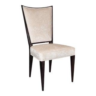 Elegant Mid-Century Modernist Side or Desk Chair in Velvet and Ebonized Walnut