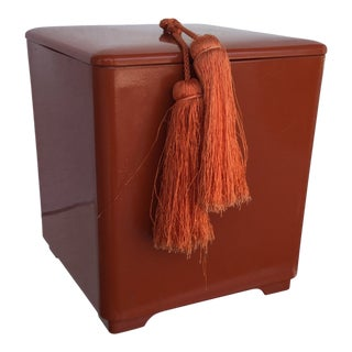 Vintage 1970s Lacquer Ware Persimmon Color Ice Bucket with Tassel For Sale