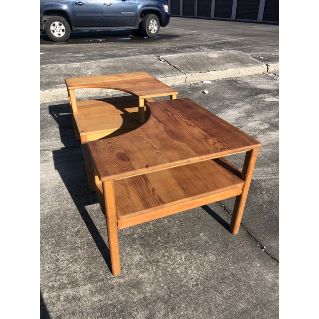 Rustic Large Pine Square Two Tier Side Tables - a Pair For Sale - Image 3 of 11