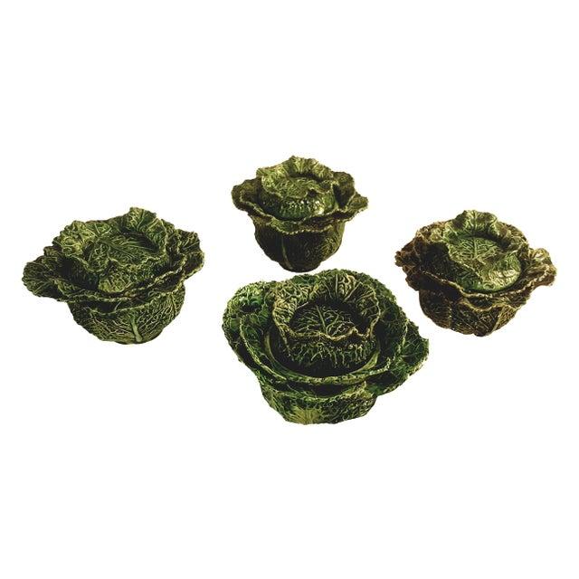 Cottage 1930s Vintage Portuguese Majolica Cabbage Shaped Leaf Soup Bowls - Set of 4 For Sale - Image 3 of 10