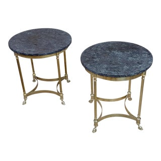 1960s Regency Marble and Brass Round Side Table - a Pair For Sale