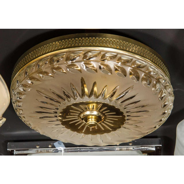 1940s Hollywood Laurel Design Flush Mount Chandelier For Sale - Image 4 of 8