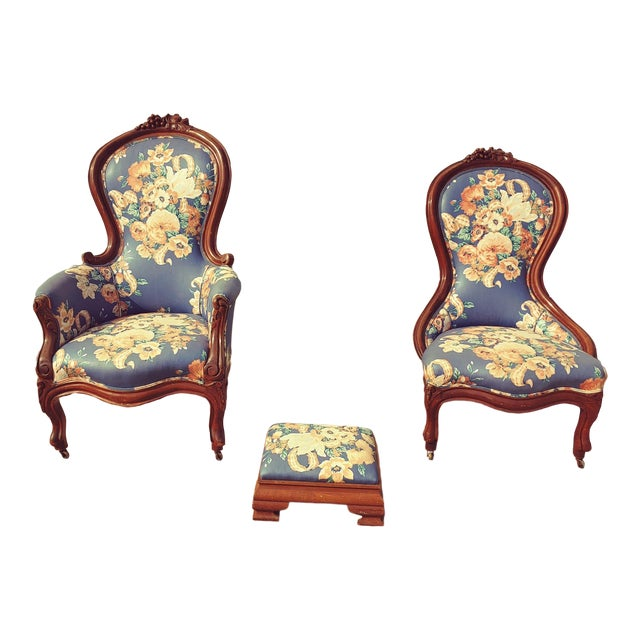 Antique Slipper Chairs & Ottoman, 3 Pieces For Sale