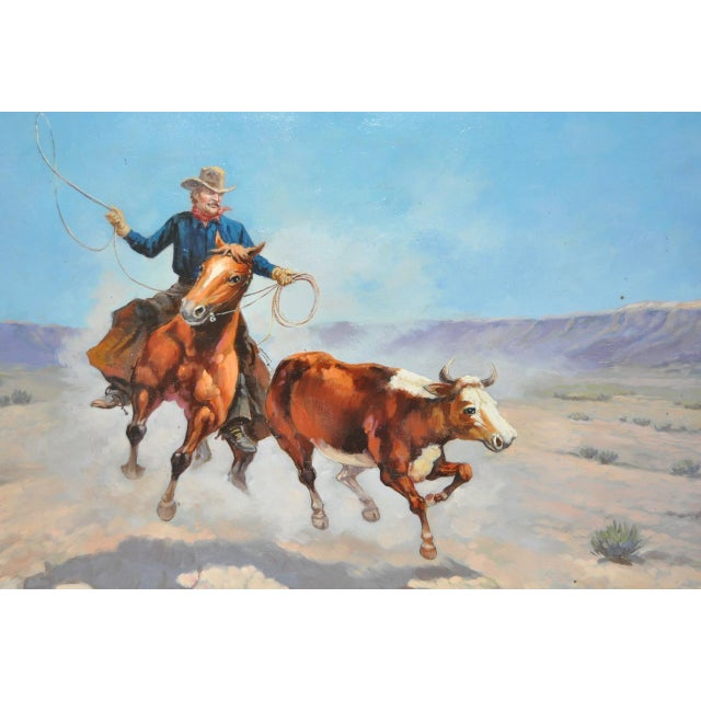 Roping A Runaway Vintage Western Oil Painting By K Vetillo