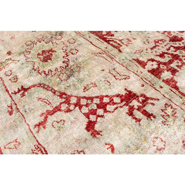 2010s Traditional Hand Knotted Red and Beige Oushak For Sale - Image 5 of 8