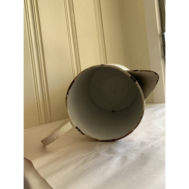 White Rustic Farmhouse Large Metal Pitcher Vessel For Sale - Image 8 of 11
