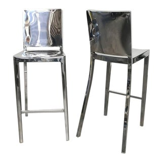 Philippe Starck for Emeco Polished Aluminum Hudson Bar Stools - A Pair