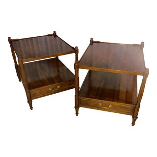 1970s Traditional Baker Furniture Side Tables - a Pair For Sale