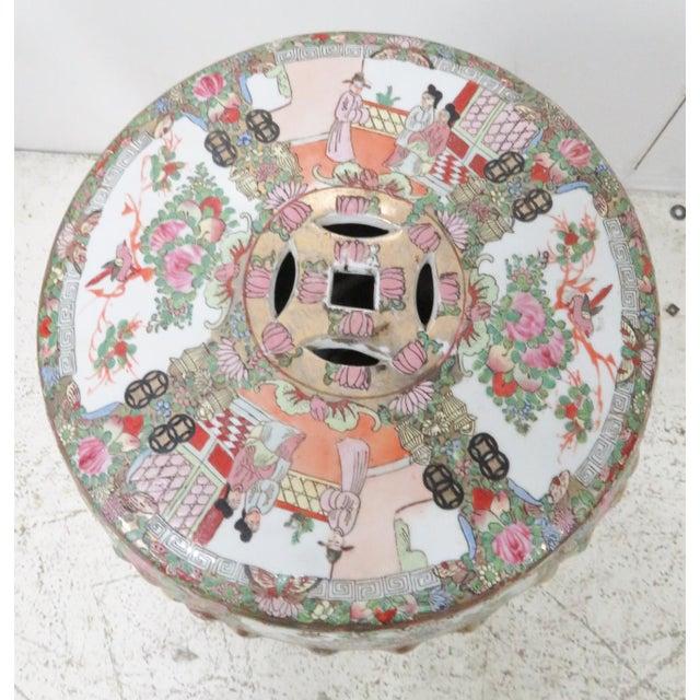 Asian Rose Medallion Garden Stool For Sale - Image 3 of 6