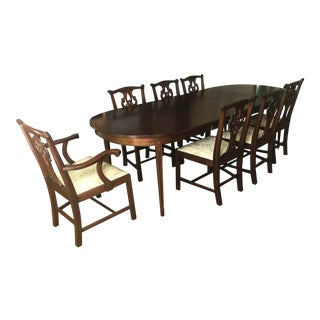 Cherry Chippendale Dining Table & 8 Chairs Can Be Sold Separately For Sale