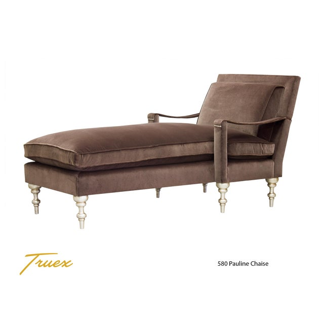 "Truex American Furniture Seppia Velvet ""Pauline Chaise"" - Image 2 of 4"